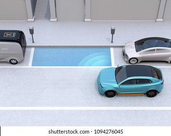 Autonomous SUV is parallel parking into parking lot at roadside. Intelligent Parking Assist System concept. 3D rendering image.