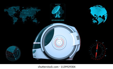Autonomous transportation pod, electric self-driving vehicle with infographic data, futuristic car, side view, 3D rendering