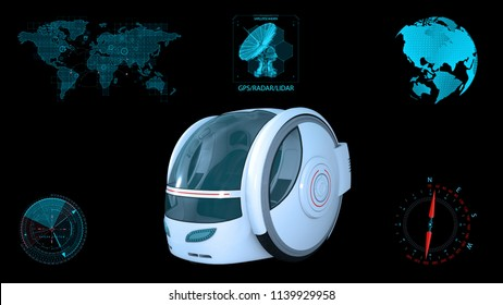 Autonomous transportation pod, electric self-driving vehicle with infographic data, futuristic car, 3D rendering