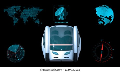 Autonomous transportation pod, electric self-driving vehicle with infographic data, futuristic car, front view, 3D rendering