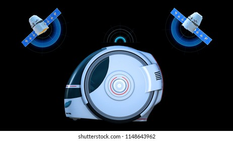 Autonomous transportation pod, electric self-driving vehicle with two satellites on black background, futuristic car, side view, 3D rendering