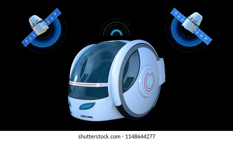 Autonomous transportation pod, electric self-driving vehicle with two satellites on black background, futuristic car, 3D rendering