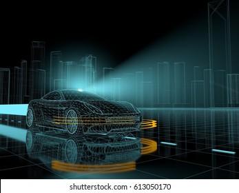 Autonomous vehicle - 3D rendering