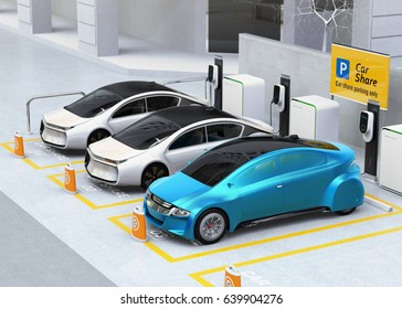 Autonomous vehicles in parking lot for sharing. Car sharing business concept. 3D rendering image.
