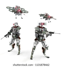 Autonomous weapons squad with two drones and two robots, 3d rendering