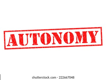 AUTONOMY red Rubber Stamp over a white background.