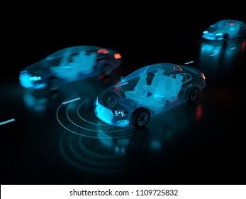 Autopilot driverless vehicle - 3D rendering