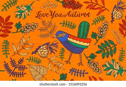 Autumn Background with Leaves and Bird.