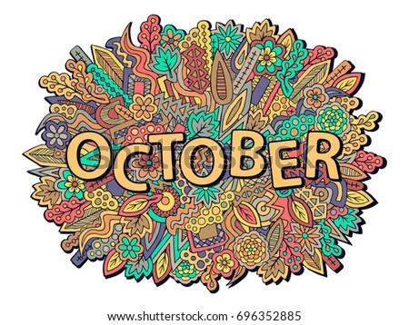 Autumn background. October wallpaper. Fall theme doodles. Ethnic zentangle ornament. Pencil effect