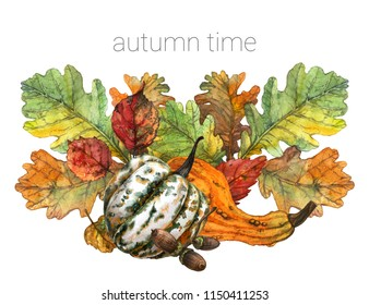 Autumn botanical composition with colorful leaves, decorative pumpkins and acorns. Watercolor postcard with vegetables and tree leaves.  Isolated on white background