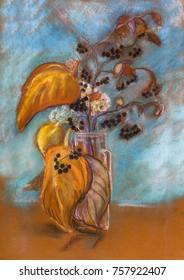 Autumn bouquet in glass vase