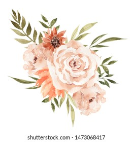 Autumn  bouquet with pretty flowers, leaves, branches, watercolor hand draw floral element, isolated on white background