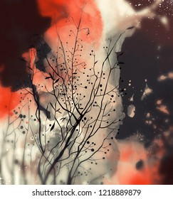 autumn bush - dry branches and leaves with berries. digital picture with watercolour texture.
