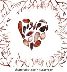 Autumn card, seeds in heart
