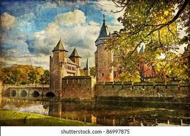 autumn castle - artwork in painting style