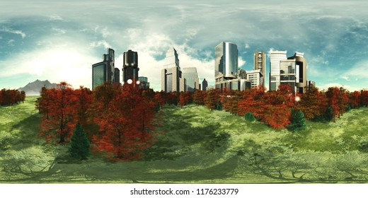 Autumn city. Panorama of the modern city. Environment map. HDRI . equidistant projection. Spherical panorama. panorama 360 3d rendering