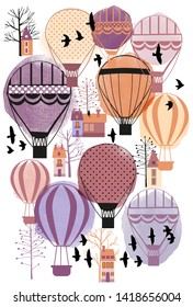 Autumn cityscape with airbaloons. Watercolor ans skech illustration.