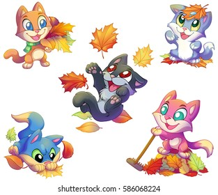 Autumn colored cartoon kittens playing with golden leaves