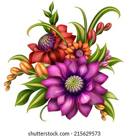 autumn colorful flowers arrangement with green leaves, illustration isolated on white background