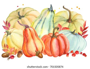Autumn composition of a pumpkin, leaves, acorns, fetus dogrose watercolor illustration