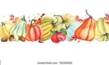Autumn composition pumpkin and leaves, acorns, wild rose fruit, apple. hand watercolor painted, isolated