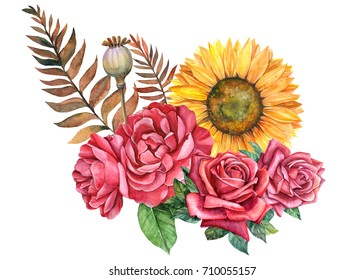 autumn composition of sunflowers, roses and leaves, watercolor