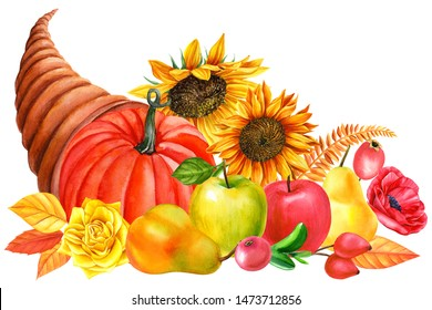 autumn cornucopia of flowers, vegetables and fruits on an isolated white background, watercolor painting, hand drawing