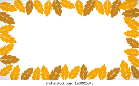 Autumn decorative lines with yellow leaves for banner or frame design
