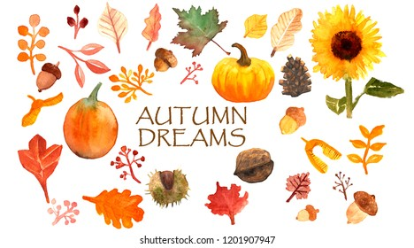 Autumn Dreams Watercolor Set. 31 hand painted object