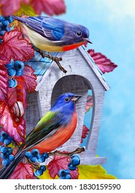 Autumn elegant background, titmouse bird sitting on a branch near an abandoned birdhouse, autumn bright red leaves, blue berries, 3D rendering, mixed media