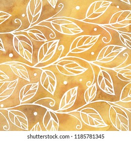 Autumn floral watercolor seamless pattern with branches and leaves on yellow texture.  Hand painted autumn abstract background.