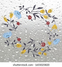 Autumn flowers  Image with rain drops