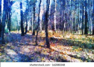 Autumn forest in the morning painting