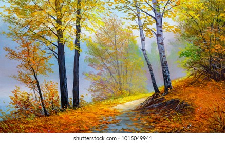 Autumn forest near the river, orange leaves.Oil painting landscape.