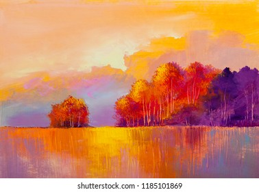 Autumn forest , orange leaves.Oil painting landscape.