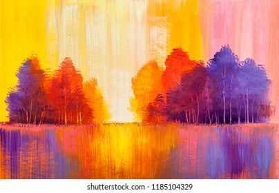 Autumn forest , orange leaves.Oil painting landscape.