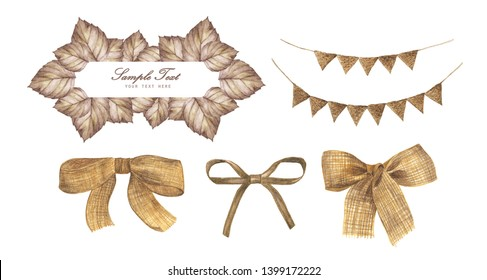 Autumn Frame, bunting pastel flags and burlap bow set. Perfect for wedding invitations, greeting cards, blogs, prints and more. watercolor illustration.