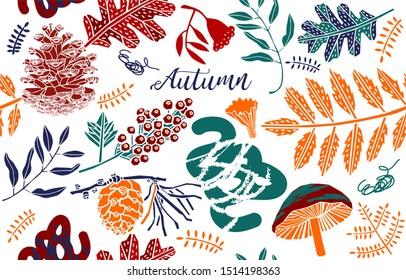 Autumn greeting card decorative leaves, berries, mushrooms.