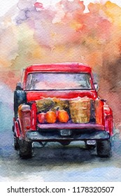 autumn harvest. Red car. pumpkin. watercolor