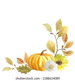 Autumn has come! The pumpkins rushed! Pumpkins and autumn leaves. Finished composition. It is suitable for autumn, weddings, invitations, Thanksgiving day, harvest festival and much more ...