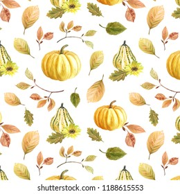 Autumn has come! The pumpkins rushed! Pumpkins and autumn leaves. Seamless pattern. Autumn watercolor set for invitations, for Thanksgiving, autumn holiday, pumpkin, watercolor