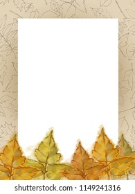 Autumn Hickory Leaves Template with Patterned Frame and Text Copy Space. Watercolor Autumnal Design for Announcement, Advertising, and Various  Promotional Material.