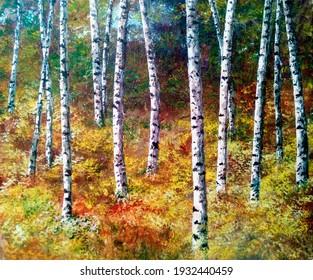 Autumn landscape of birch forest of vivid colors