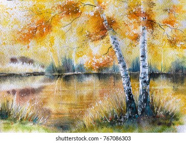 Autumn landscape with birch trees and lake in background.Picture created with watercolors.