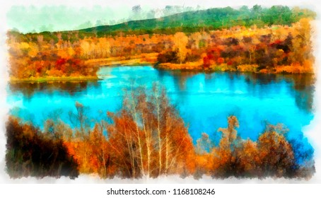 Autumn landscape of a bright landscape with a river in watercolor. Digital painting