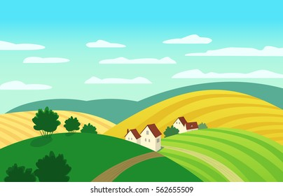 Autumn landscape. Cartoon farm houses silhouettes. Country winding road on meadows and fields. Rural community view among hills. Village countryside scene background.  Illustration