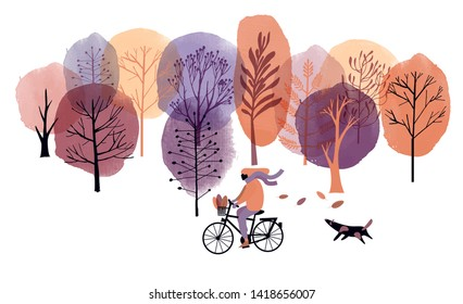 Autumn landscape with Girl on  the bike and dog. Watercolor and skech illustration.