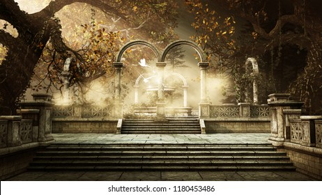Autumn landscape with magic fountain and trees. 3D illustration.