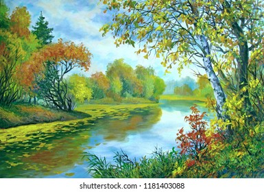 Autumn landscape with a river, oil on canvas