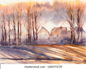 Autumn landscape with village and trees in foreground. Picture created with watercolors.